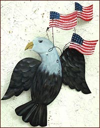 Eagle with 3 Flag Spray!-eagle, american eagle, flag, usa, hand painted, tin, rusty Americana