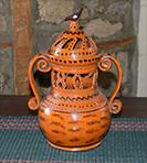 Splendid pierced 2 handled jar-Shooner American Redware, Shooner Pierced 2 Handled Jar Greg Shooner Redware, 1807