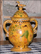 Stunning 2 handled sgraffito jar with dotted swan finial!-2 handled sgraffito jar, dotted swan finial, shooner american redware,