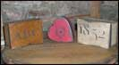 Little handpainted boxes from Hanway Mill House-hanaway house, little, reproduction, handpainted, mustard, heart, wood