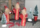 Alta's Heirlooms Red Santas-alta's heirlooms santas, red, tin star, santa claus, collectible