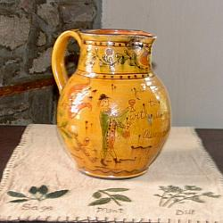 Beautiful Sgraffito Pitcher!-Sgraffito Pitcher, Shooner American Redware Pitcher, redware pitcher, Shooner American Redware, pitc