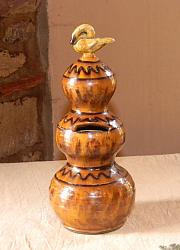 Triple Ball Bank!-Shooner American Redware, triple ball bank, shooner bank redware bank , swan finial, pottery