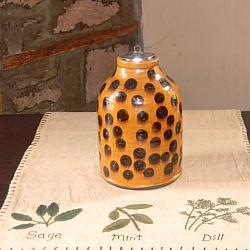 Coin-dot Jar with Tin Lid!-coin dot jar, shooner jar, redware jar, shooner american redware, dotted jar, pottery