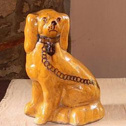 Staffordshire Dog!-staffordshire dog, redware dog, Shooner American Redware, redware, pottery