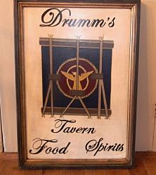 Drumm's Tavern Sign!-drum tavern sign, handpainted tavern sign, drum sign, Maine, handpainted sign
