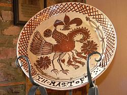 A Thomas Toft Showpiece!!-Thomas Toft, redware plate, Shooner American Redware, folk art, reproduction,