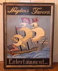 Hayden's Tavern Sign!-tavern sign, nautical sign, ship, sailboat, Maine, Haydens Tavern Sign, wood sign,