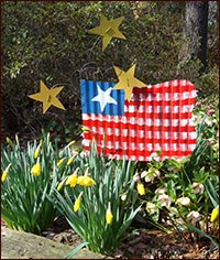 Wonderful flag with 3 Adjustable Stars-hand painted, tin, stake, garden, flag, USA, patriotic, summer, stars, stripes