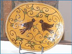 Birds!! Oval with Blackbirds!-Shooner, Greg Shooner, blackbirds, oval redware plate, Shooner American Redware , crows