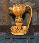 Unusual Sgraffito Oil Lamp!-Sgraffito Oil Lamp, shooner american redware, greg shooner, lamp, redware