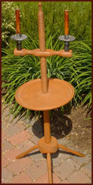 Tripod Candlestand-17th century, candle holder, tray, adjustable, aged, mustard, tripod, candle stand, candle