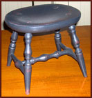 Windsor Cricket Stool-stool, windsor, furniture, cricked, black, red, wood