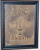 ABC Sampler - Abigail-primitive, hanging, aged, framed, reproduction, antique, flower, decor