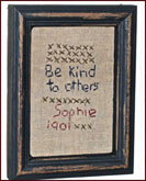 Be Kind to Others Sampler-aged, primitive, framed, hanging, reproduction, antique, saying, wisdom, american, decor