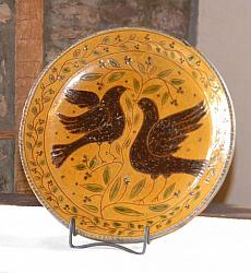 Blackbirds!!-blackbirds, crows, large redware plate, sgraffito plate, crows, Shooner American Redware