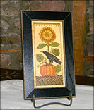 Black Crow on Pumpkin with Sunflower-Fraktur, Teresa Hicks, Black Crow on Pumpkin, Fall, black frame