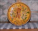 Dancing Bear Plate!-shooner american redware, Sgraffito plate, dancing bear plate