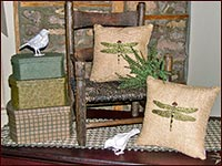 Pillows with Embroidered Hummingbirds-pillows, embroidery, burlap beige, spring, hummingbird, bird