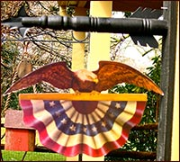 Eagle Over Bunting Arrow!-eagle, bunting, american eagle, USA, patriotic, bunting, red, white, blue