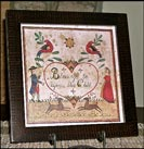 Beautiful Fraktur with a Blessing for a Child!-fraktur, child, blessings, angel, deer, doves