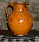 Big, Oversize Pitcher with Applied Acanthus Leaves!!-Shooner American Redware, pottery, oversize pitcher, ooak, strap