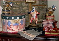 Horray for the Red, White and Blue!-teddy bear, patriotic, flag, drum, americana, USA, paper mache, red, white, blue,