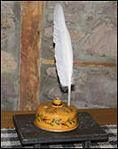 Sgraffito inkwell with quill!-Sgraffito inkwell, quill, shooner american redware, shooner inkwell