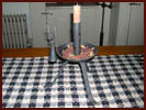 Standing Tripod Candleholder/Dish/Snuffer & Tallow Candle-tripod candleholder, dish, snuffer, tallow, candle, hand forged iron, colonial, yummy, handmade