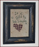 It Is a Gift to Be Simple Sampler-american, heart, check, framed, gingham, hanging, primitive, decor, aged, reproduction, antique