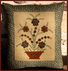 Jeanette McVay Pillow - Green and Rust-green, rust, jeanette mcvay, one-of-a-kind, one of a kind, pillow, early amreican life, flowers, bas