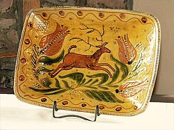 Stunning Leaping Stag and Tulips-Shooner Redware, Greg Shooner, leaping stag, tulips, sgraffito, redware plate