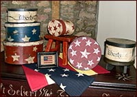 America the Beautiful!-Barb Kauffman, stacked boxes, stars, red, white, blue, liberty, USA, americana