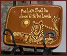 """The Lion shall lie down with the Lamb""-lion, pottery, serving dish, platter, redware, lead-free, reproduction"