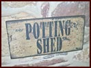 Potting Shed Sign-black, buttermilk, worn, primitive, country, sign, garden, shed, wall, hanging