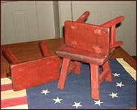 Small, Antique Red Painted Stools!!-red, antique, old, vintage, stool, reproduction, stool, americana