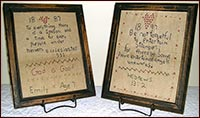 Samplers Framed Under Glass w/Biblical Quotes-sampler, framed, biblical verse, embroidered, stitched, embroidery,