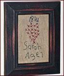 Tiny American Sampler - Sarah-sampler, american, americana, sampler, primitive, reproduction, framed, hanging, decor, antique, age