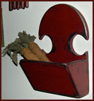 Lovely Little Scythe-Shaped Wall Box by Amanda Wilder-wood, mustard, barn red, red, amanda wilder, sythe, wall, box, hanging