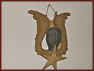 Small Primitive Angel with Upturned Wings-primitive, angel, small, fabric, old, stitched, vintage, homespun, star, decorative accessories