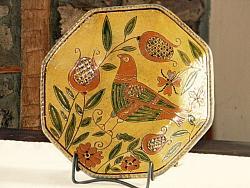 More Birds!!-shooner redware, flowers, birds, octagonal redware plate, greg shooner, sgraffito