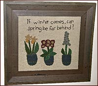 Framed Sampler-sampler, winter, spring, framed, embroidery, embroidered
