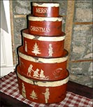 Big Stack of Christmas Boxes-christmas boxes, colonial. red, reproduction, christmas