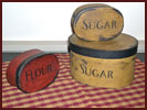 """Sugar"" and ""Flour"" Oval Boxes-sugar, flour, oval, red, black, mustard, box"