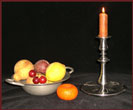 Tall Bowl- Base Pewter Candlestick-pewter, candlestick, bowl-based, colonial, american reproduction