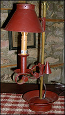 Red Tin Student Lamp with Snuffer!-lamp, tin, student, snuffer, primitive, reproduction, home decor, bargain