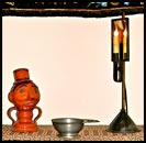 Weighted base tin lamp with mirror reflector!-tin, lamp, weighted, mirror, reflector, reproduction, primitives, USA, lighted