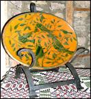 Oversize Handforged Iron Trencher-handforged, iron, trencher, redware, shooner's, birds,