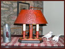 New Brighton Lamp by Lt. Moses Willard-Lt. Moses Willard, lamp, wood, punched tin, star, painted, mustard, black, harlequin, cinnamon, red,